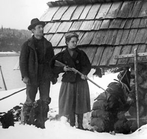 Percy and Hattie Pond at their tidewater camp near today's boat launch in Echo Cove. To have a photographer of Percy's stature documenting daily activities of a small gold-mining venture, has resulted in a rich historical resource–worth far more to us today than whatever gold he encountered above Echo Cove.